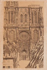 photographie ancienne. Cathedrale de Strasbourg. Vers 1860